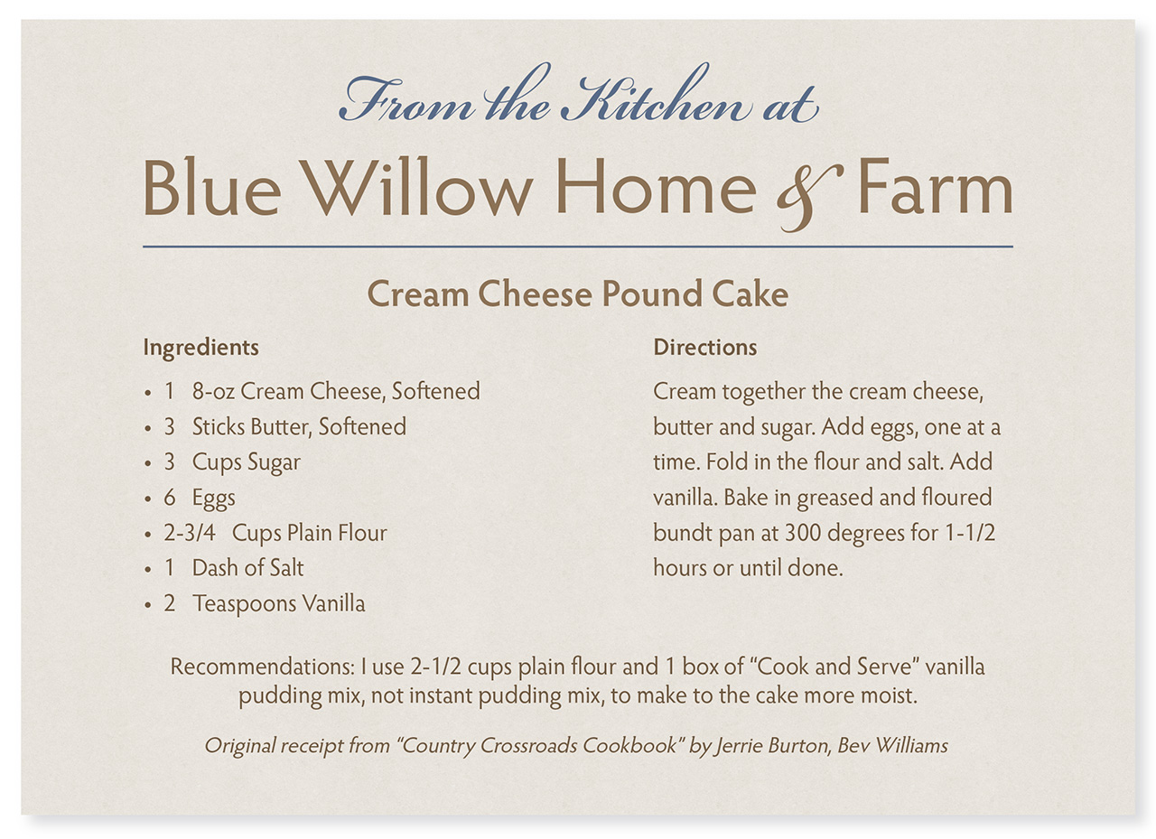 Blue Willow Home and Farm Pound Cake